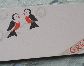 1930 Christmas Gift Card Tag Scrapbooking Craft Altered Art Art Deco Tag Card