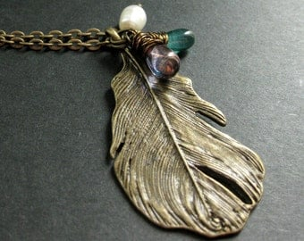 Feather Necklace. Bronze Charm Necklace in Teal, Purple and Fresh Water Pearl. Handmade Jewellery.