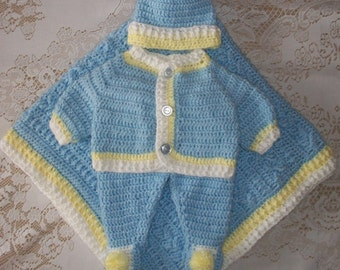 Crochet Baby Boy Sweater Set Layette Outfit with Cable Blanket Perfect for Baby Shower or Take Home Gift