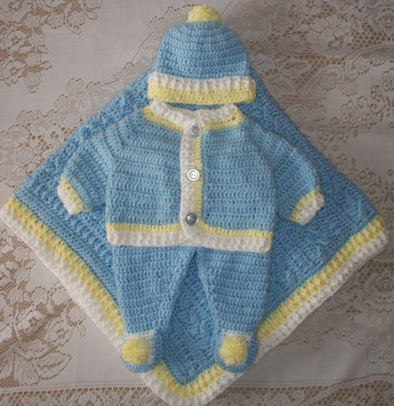 Crochet Baby Boy Sweater Set Layette With By