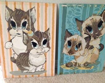 2 Vintage Big Eyed KITTENS Paint by numbers vintage siamese