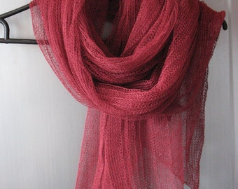 Burgundy Linen Scarf Shawl Wrap Stole claret raspberry Light, Transparent