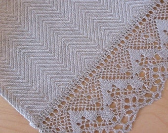"""Linen Table Burlap Runner Tablecloth Natural White Gray Striped Linen Lace 65"""" x 19.1"""""""