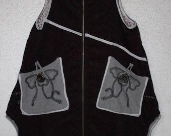cotton loose fitting Tank dress hoodie vest