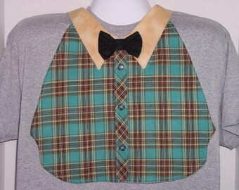 Mens Adult Bib /Special Needs Teal Green Plaid Shirt Front Bib