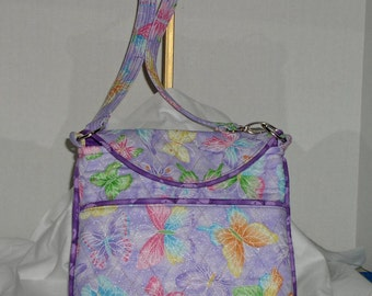 Fabric Handbag Crossbody - Lovely Lavender Sparkle Crossbody Bag with multicolored Butterflies