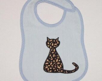 CatToddler Bib - Sitting Cat Applique Blue Terrycloth Toddler Bib
