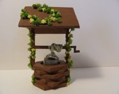 Miniature Wishing Well.  Handmade Dollhouse Miniature. Quarter Scale or Larger.  Yellow Flowers.