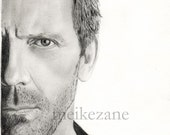 Hugh Laurie (House M.D.) drawing print - A4