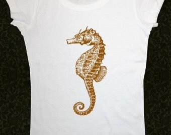 Seahorse 01 - Women's Short Sleeve Scoop Neck Cotton T-Shirt Contoured Fit