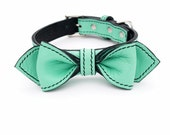 Seafoam Martini Bowtie Dog Collar