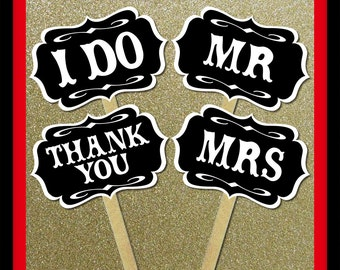 Mr and Mrs I Do Thank You Signs - 4 Piece Set - Wedding Party Photo Booth Props