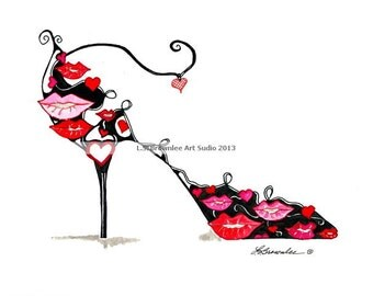 Fine Art Shoe Print  - Valentine Kissing  Shoes - Ships Free -  Enhanced with Watercolor paint and signed