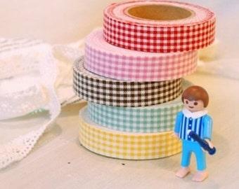 Decorative Adhesive Fabric Mini Check Pattern Masking Tape