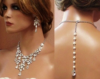 Bridal necklace earrings, Wedding necklace jewelry, bridal jewelry set, Bridal back drop bib necklace, crystal pearl bridal statement set