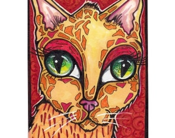 Original ACEO Cat, Big-Eyed Kitten in Orange and Red