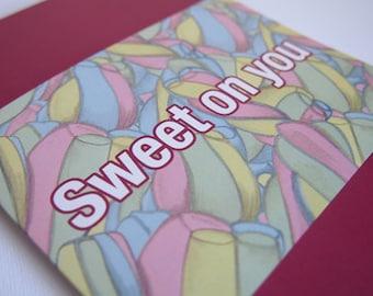Sweet On You Marshmallow Blank Greeting Card