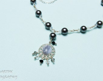 Swarovski Necklace Dark gray charcoal pearl and AB crystals with crazy lace agate cabochon in fancy filigree