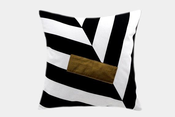 Black Cotton Throw Pillows : Cotton Black-White Throw pillow case with Gold by svetastyle