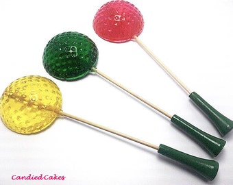 100 GOLF BALL Lollipops - List up to 4 Colors and 4 Flavors