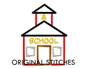 Schoolhouse Applique and Machine Embroidery Design File 4x4 5x7 6x10