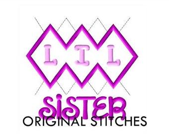 Argyle LIL Sister Applique and Machine Embroidery Digital Design File 4x4 5x7 6x10