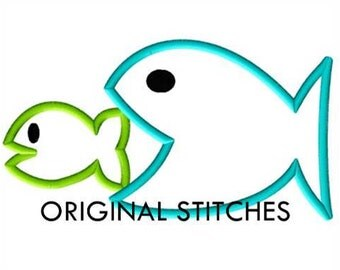 Two Hungry Fish Applique and Machine Embroidery Digital Design File 4x4 5x7 6x10