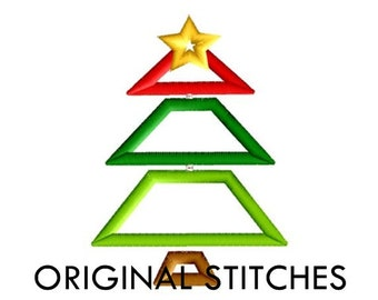 Tiered Christmas Tree Applique and Embroidery Digital Design File 4x4 5x7 6x10
