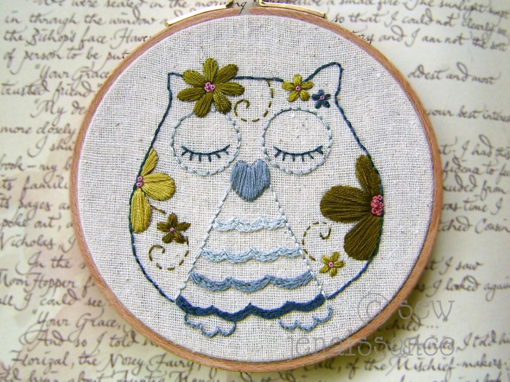 Embroidery pattern pdf flower power owl by sewjenaissance