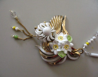 Vintage Trifari Assemblage Statement necklace vintage Trifari brooch, Crown Derby porcelain, milk glass, crystal