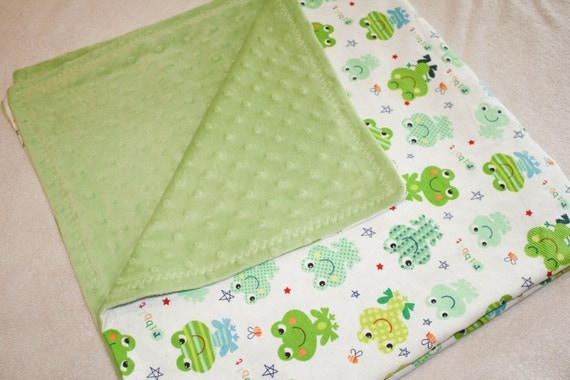 Green Minky and Frog Flannel Baby Blanket