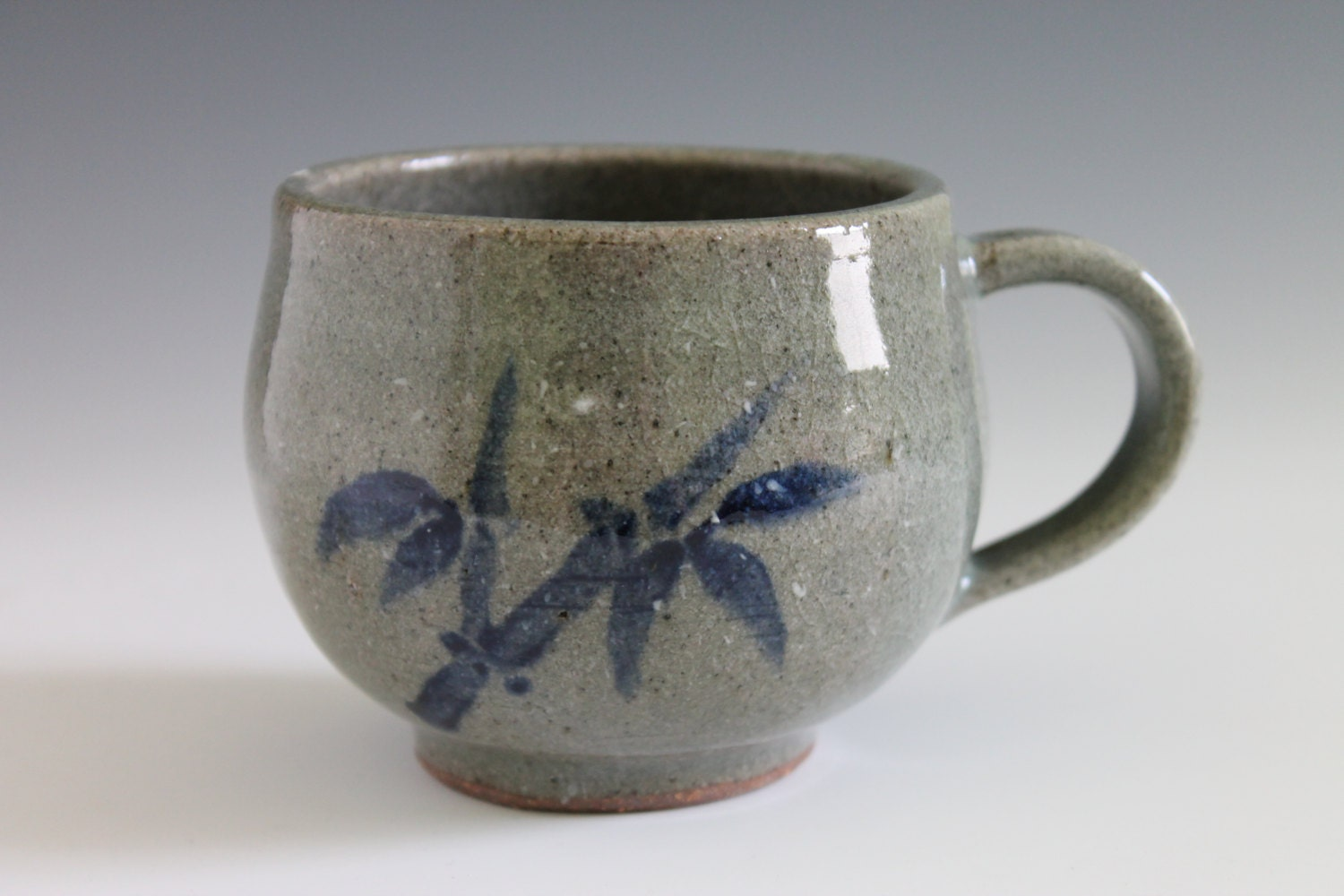 Bamboo design celadon ceramic mug cup handmade by insceramics for Handmade mug designs