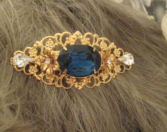 "SAPPHIRE Rhinestone GOLD Hair comb 3"" large comb wedding comb bridal accessories bridal comb wedding accessories something blue comb"