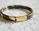 Wood bangle bracelet ebony wood gold leaves bride gifts glam chic