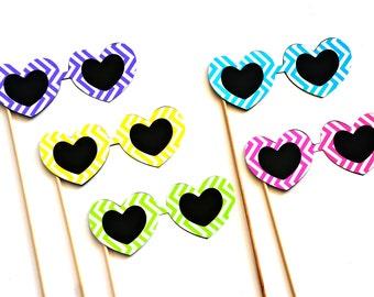 Photo Booth Props - Set of 5 heart sunglasses - Chevron Design - bright colors, fun for summer