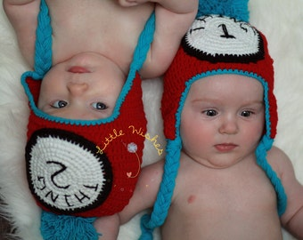 Ready To Ship  Thing 2 Crochet Hat with Earflaps tassles and poufy ball topper Baby Boys and Girls Twins
