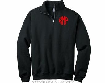 CLEARANCE, Monogrammed sweatshirt, 1/4 zip sweatshirt, monogram pullover, Men's loose fit,  BLACK, Sizes S to 3X