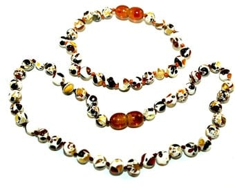BALTIC AMBER Mosaic Baby Teething  Necklace and Bracelet