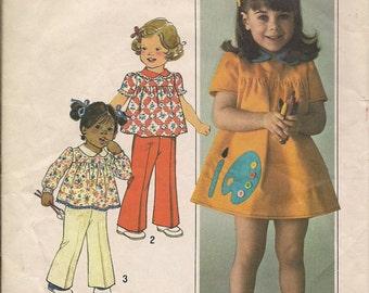 1976 Sewing Pattern Simplicity 7604 toddler girls dress, top, pants size 3