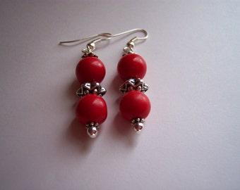 Red Coral Dangle Earrings