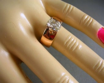Russian Rose Gold wide Band Ring .84 Carat Oval Diamond 5.5gm Size 8 Appraisal 3,550