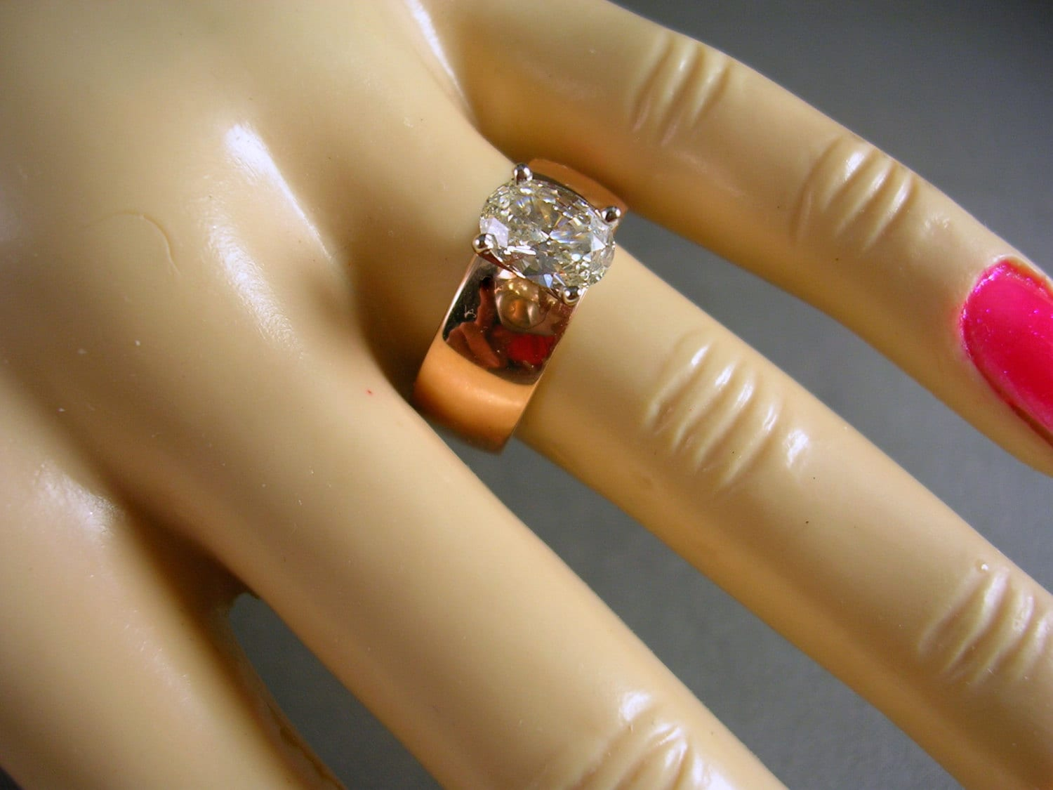 Russian Rose Gold Wide Band Ring .84 Carat Oval Diamond 5.5gm