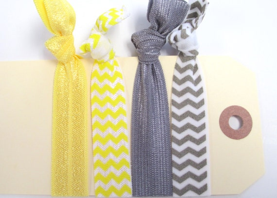 4 hair ties yellow and grey chevron set of 4