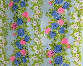 Vintage Floral Cotton Fabric Yardage - Roses - Sheer - Lightweight - Mid Century