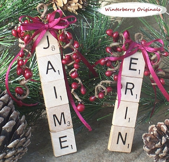 Personalized Ornament, Personalized Scrabble Ornament , Package Tie-On , Stocking Stuffer, Co-Worker Gift