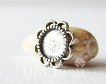 Antique Silver Cameo Cabochon Base Settings 13x13mm ( Inner Size 8x8mm ) - 20Pcs - DS24154