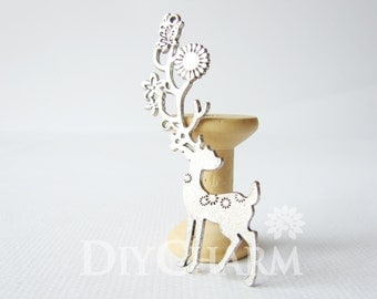 Silver Tone Spotted Deer Pendants With Exquisite Buckhorn 70x20mm - 2Pcs - DF24925