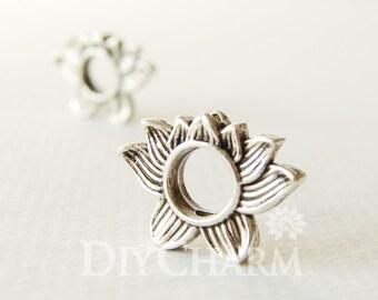Tibetan Silver Lotus Beads Frame 19x14mm - 10Pcs - FD26958