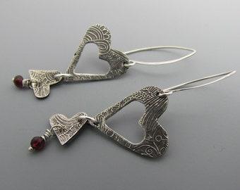 Hearts Garnets Sterling Silver Earrings