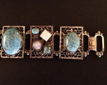 Vintage TURQUOISE and OPAL Panel BRACELET